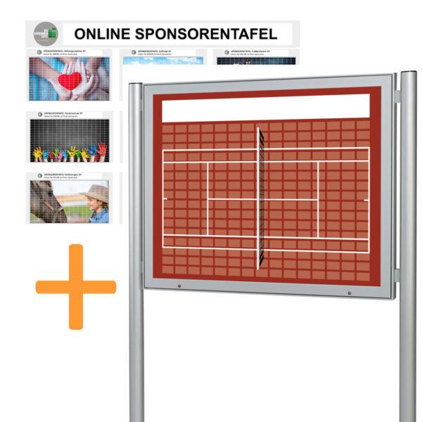 Bundle Sponsorentafel und Online Sponsorentafel für den Außenbereich für Sportvereine und Organisationen. Schaukasten mit Klapp Tür Gasdruckfedern, Schloss und Pfosten zur Boden oder Erdmontage