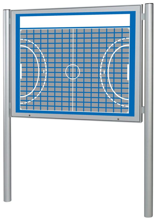 Sponsorentafel-Aussenbereich-mit-Pfosten-Handball-Design