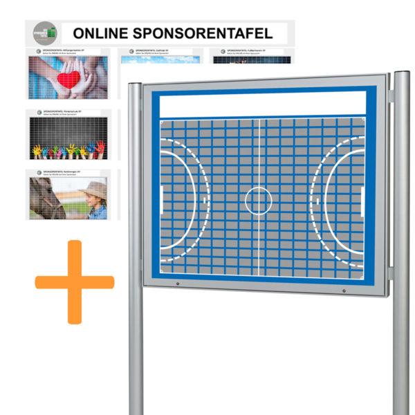 Bundle Sponsorentafel und Online Sponsorentafel im Handball-Design für den Außenbereich für Sportvereine und Organisationen. Schaukasten mit Klapp Tür Gasdruckfedern, Schloss und Pfosten zur Boden oder Erdmontage