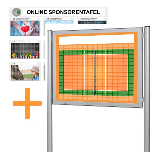 Bundle Sponsorentafel und Online Sponsorentafel im Volleyball-Design für den Außenbereich für Sportvereine und Organisationen. Schaukasten mit Klapp Tür Gasdruckfedern, Schloss und Pfosten zur Boden oder Erdmontage